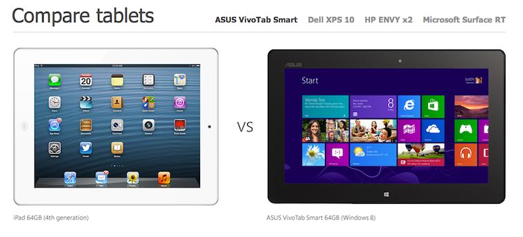 Pub comparative Tablette windows 8 contre iPad