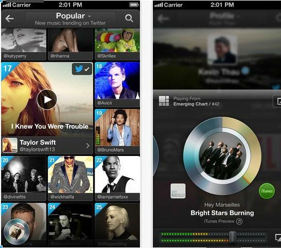 application twitter #music