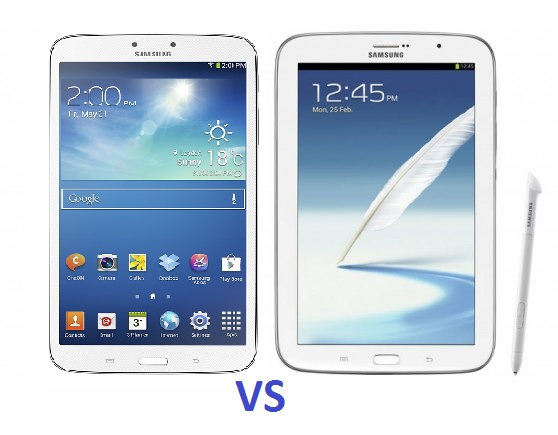 differences entre Galaxy Tab 3 à gauche et Galaxy Note avec son stylet