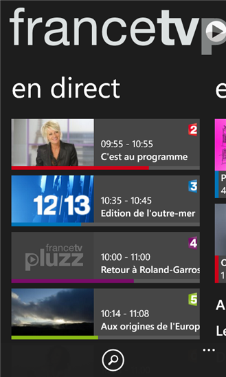 application francetv pluzz pour Windows Phone 8