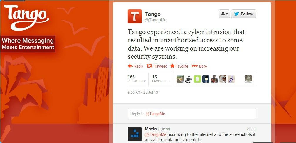 les données utilisateurs de l'application chat Tango dérobées par des pirates