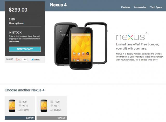 Le Google Nexus 4 Blanc retiré de la vente du Google Play store