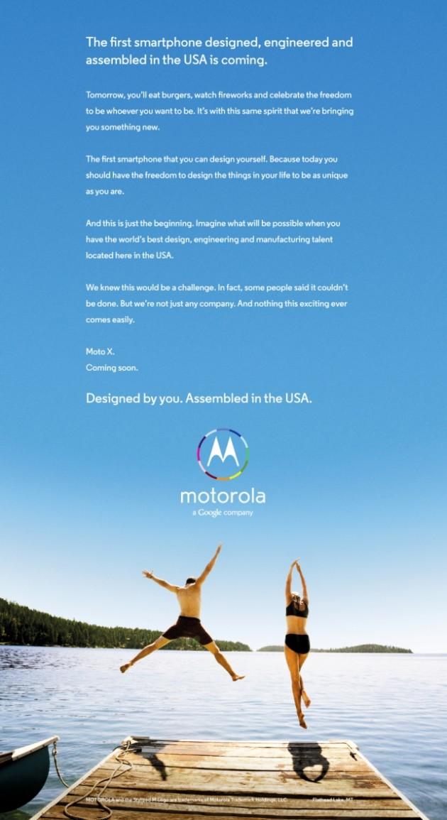 Publicité du Moto X en pleine page des quotidiens américains