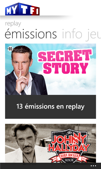 application myTf1 pour Windows Phone 8