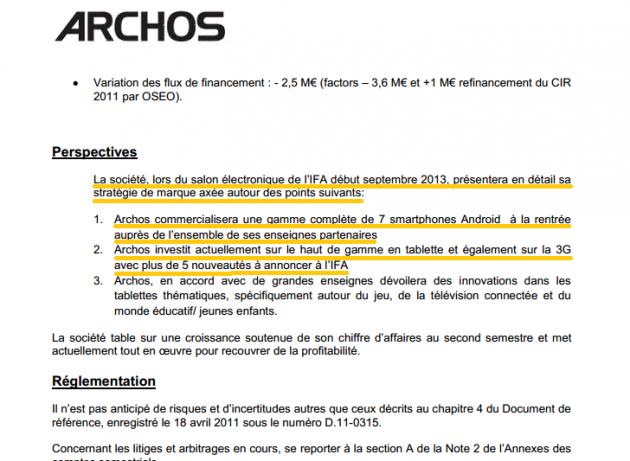 Dans son rapport financier Archos annonce 7 nouveaux smartphones pour l'automne