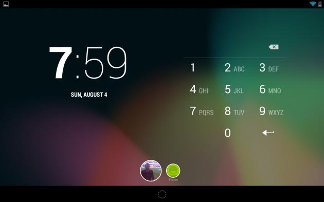 écran de démarrage avec les deux utilisateurs en bas de l'écran, verrouillage du profil par code pin ici