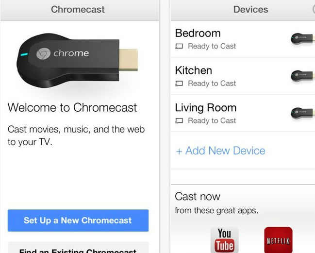 application Chromecast pour iOS