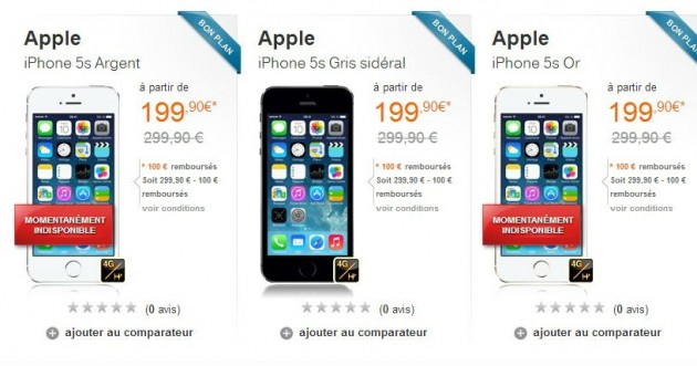 iPhone 5S en vente sur orange.fr